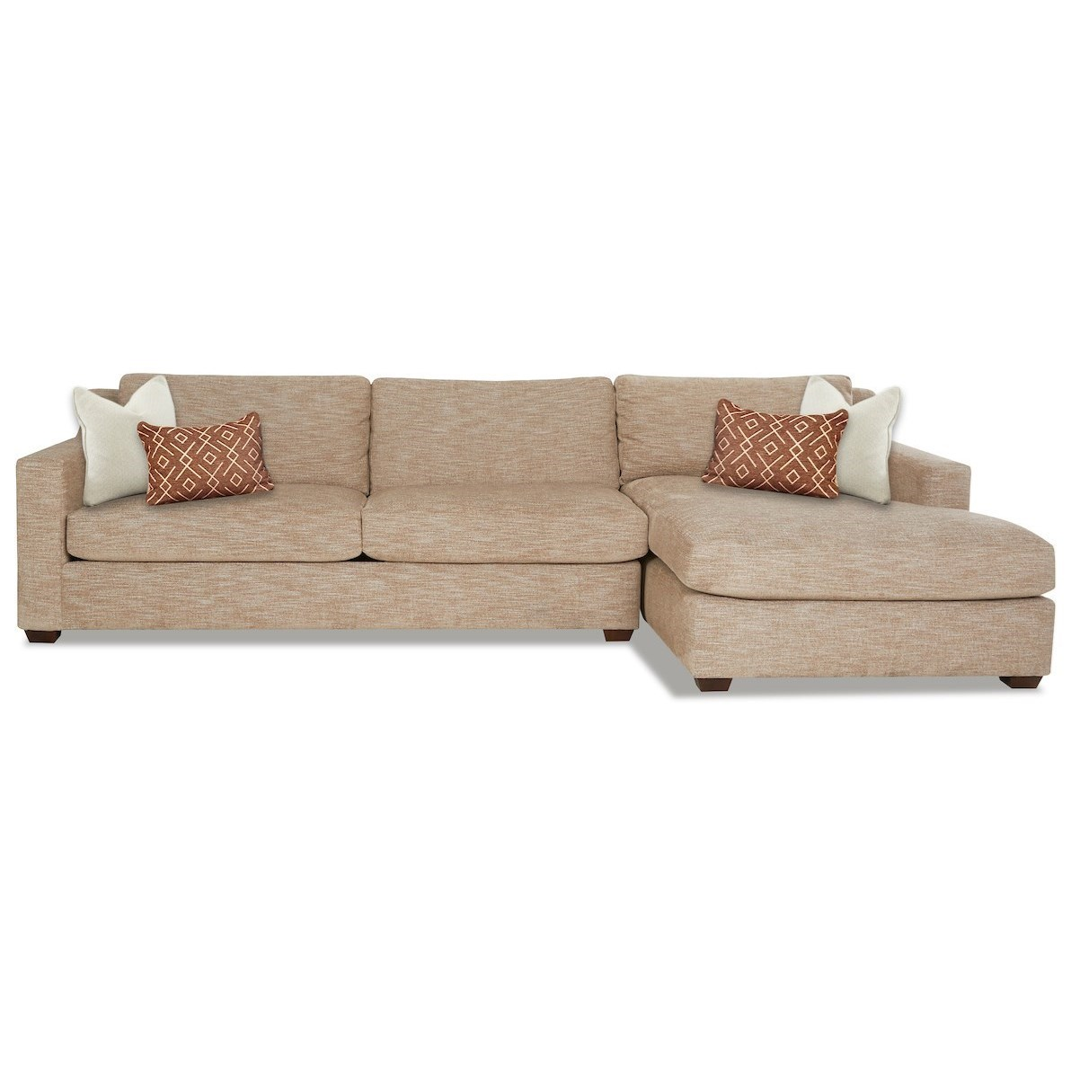 3-Seat Chaise Sofa with Down Blend Cushions and RAF Chaise Lounge