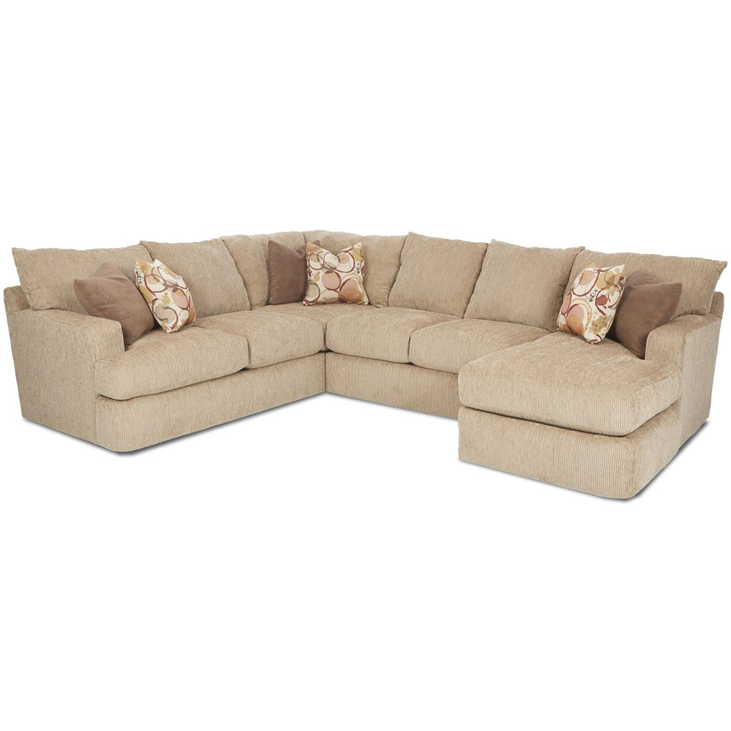 Klaussner oliver contemporary three piece sectional sofa dunk bright furniture sectional sofas