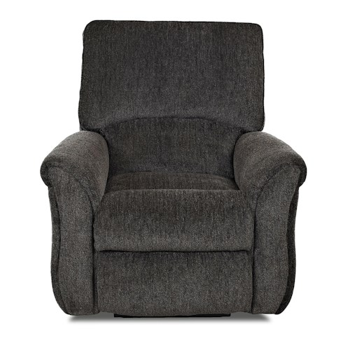 Klaussner Olson Transitional Reclining Rocking Chair with Pillow Top Flared Arms
