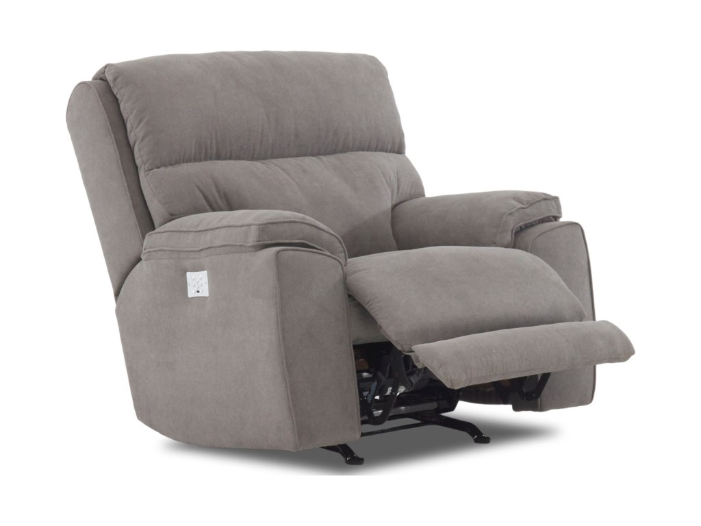 Klaussner OmahaPower Reclining Chair w/ Pwr Head & Lumbar