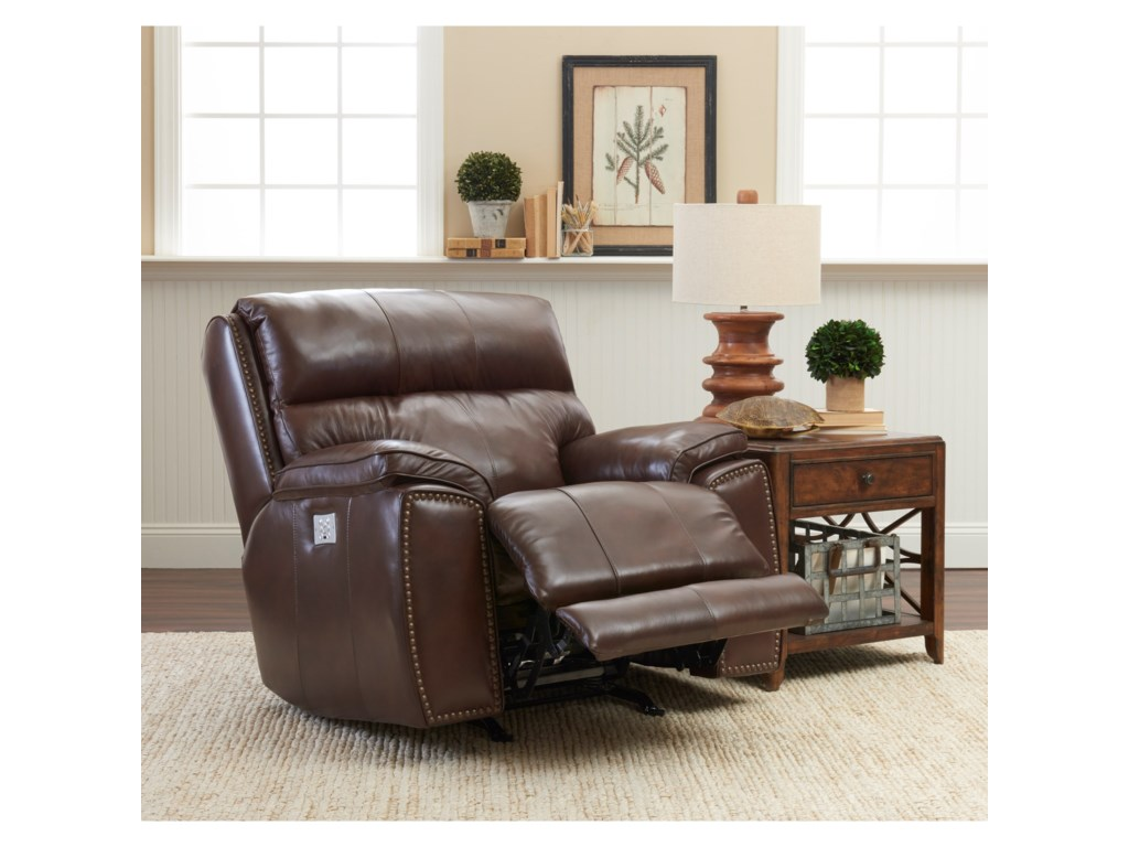 Klaussner OmahaPower Recliner w/ Nails & Pwr Head/Lumbar
