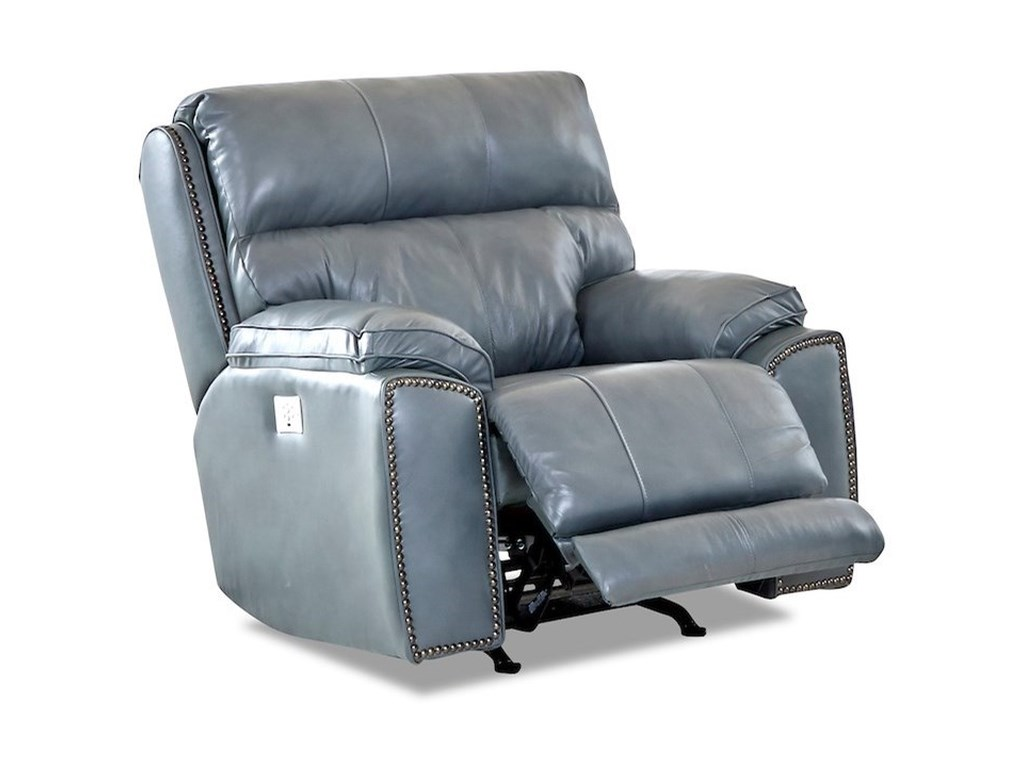 Klaussner OmahaSwivel Rocking Reclining Chair w/ Nails