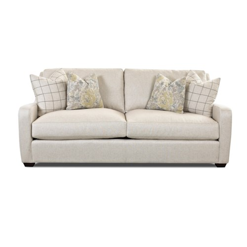 Klaussner Pandora Transitional Stationary Sofa with Track Arms