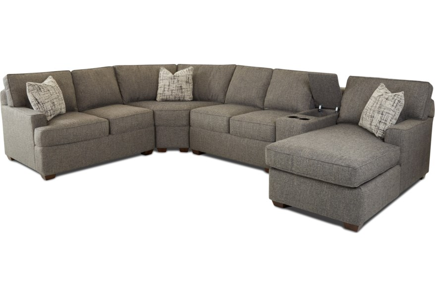 Klaussner Pantego 5-Piece Sectional with Chaise and Storage ...
