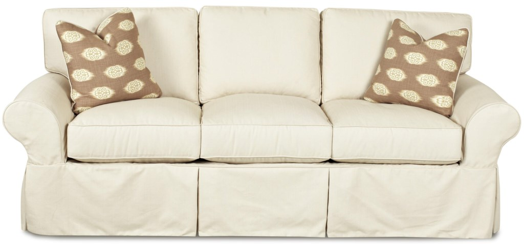 Klaussner Patterns D19100 S Slipcovered Sofa With Rolled Arms And