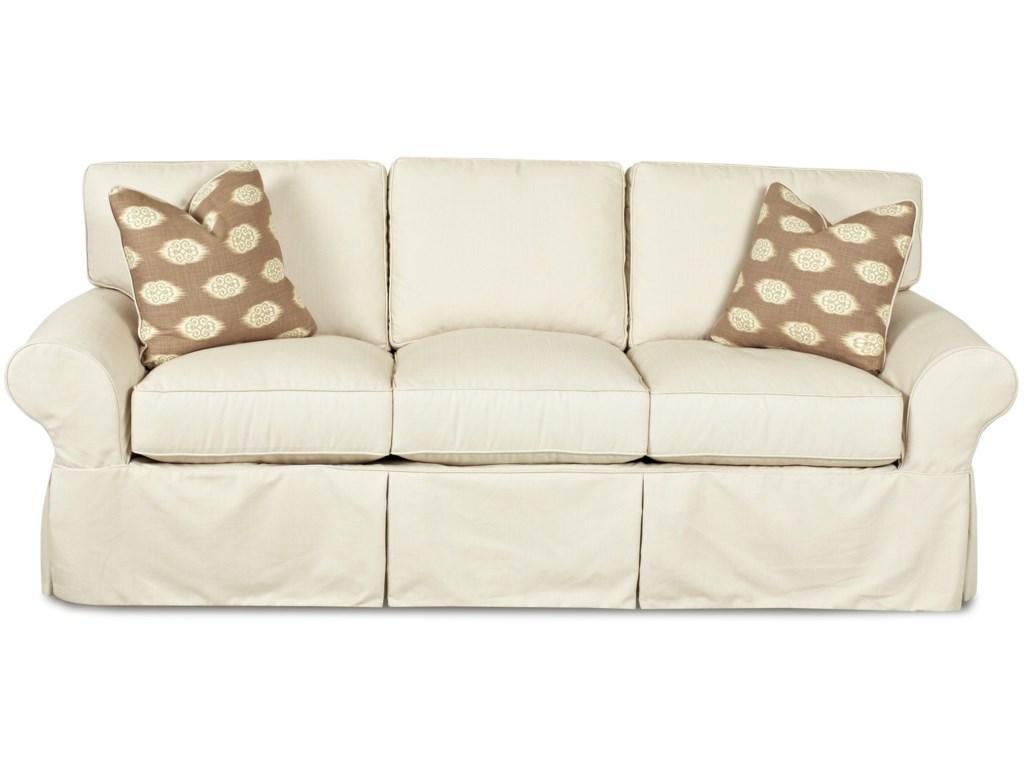 Klaussner Patterns Slipcovered Sofa With Rolled Arms And Tailored Skirt Wayside Furniture Sofas