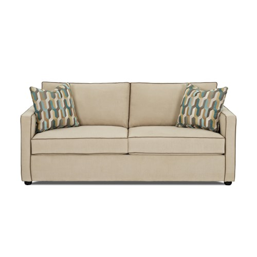 Klaussner Pendry Contemporary Queen Air Coil Sleeper Sofa with Two-Over-Two Cushions