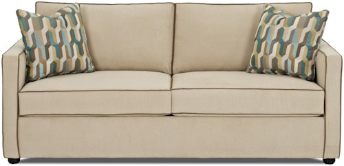Klaussner Pendry Contemporary Queen Inner Spring Sleeper Sofa with Two-Over-Two Cushions
