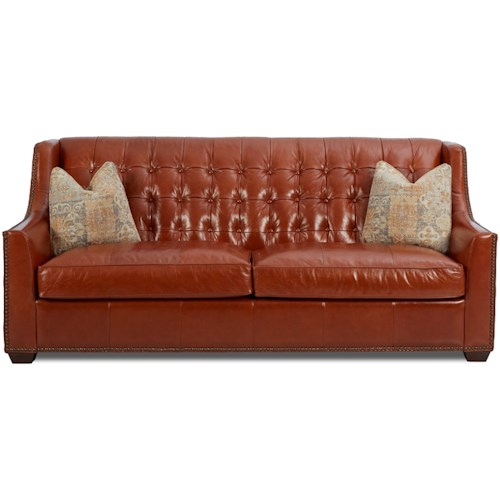 Klaussner Pennington Transitional Leather Sofa With On Tufting And Fabric Pillows