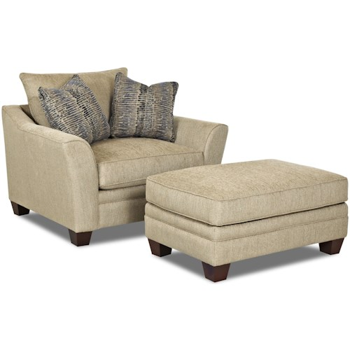 Klaussner Posen Contemporary Chair And Ottoman Set