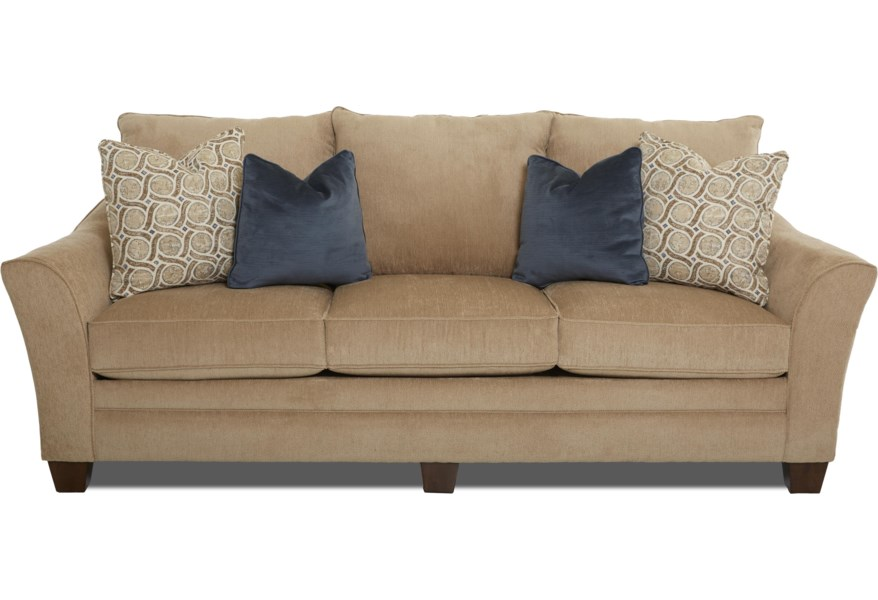 Posen Contemporary Sofa with Block Feet by Klaussner at Dunk & Bright  Furniture