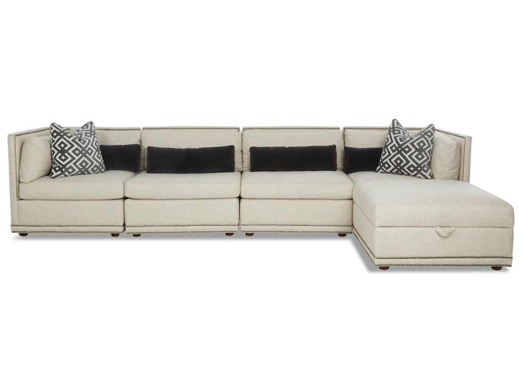 Rexford Contemporary 5 Seat Sectional Chaise Sofa With Storage Ottoman By Klaussner At Value City Furniture