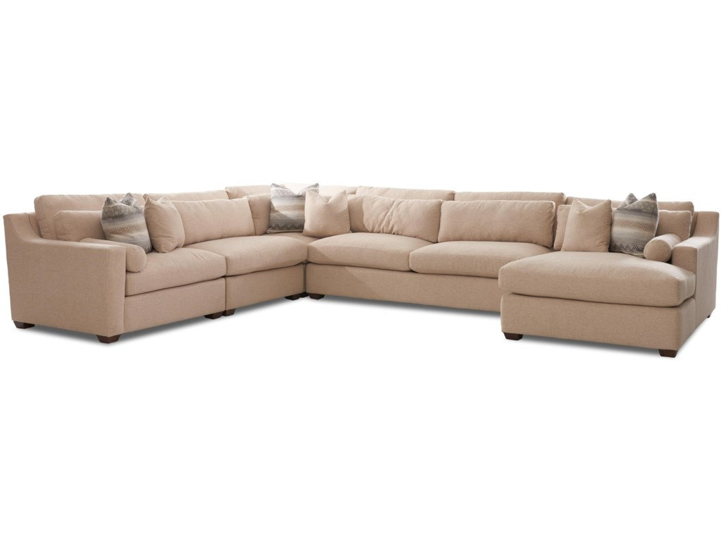 Klaussner Roan Contemporary Sofa Sectional with Right Facing Chaise ...
