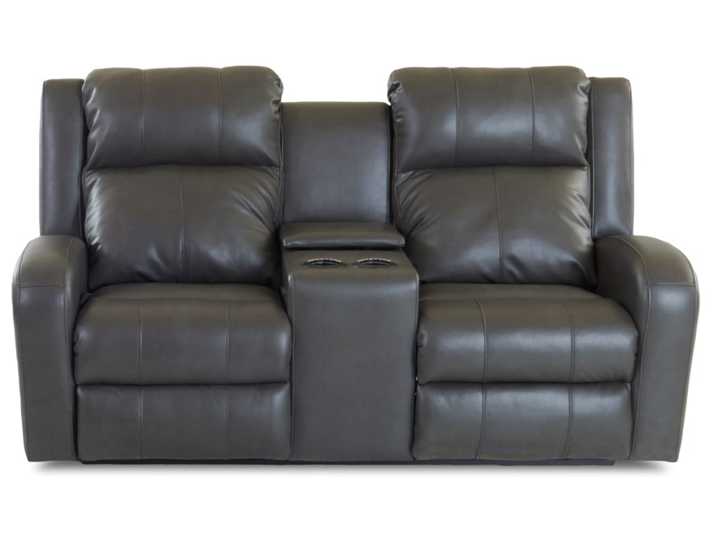 Klaussner Robinson Casual Power Reclining Loveseat With Cupholder