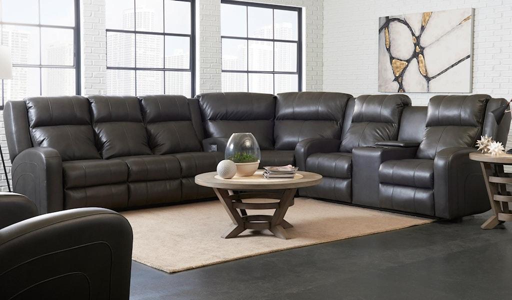 Elliston Place Robinson Casual Three Piece Reclining Sectional Sofa