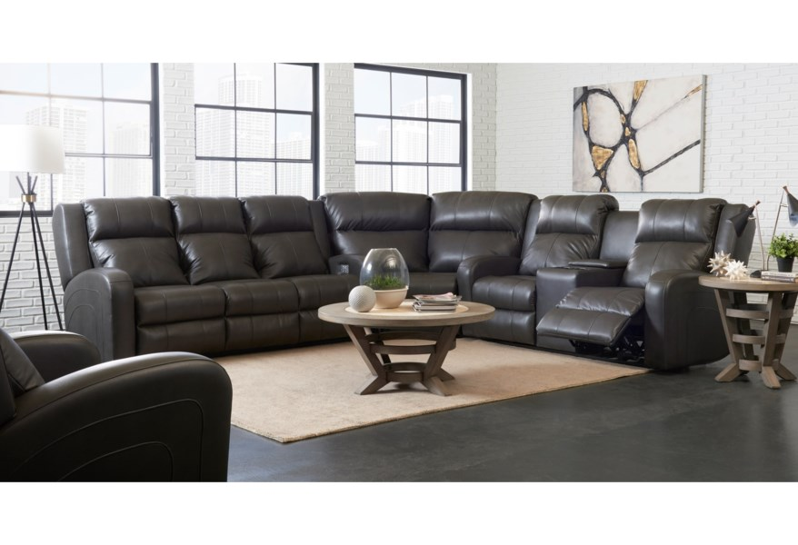 Robinson Casual Three Piece Reclining Sectional Sofa with Cupholder Storage  Console by Klaussner at Dunk & Bright Furniture