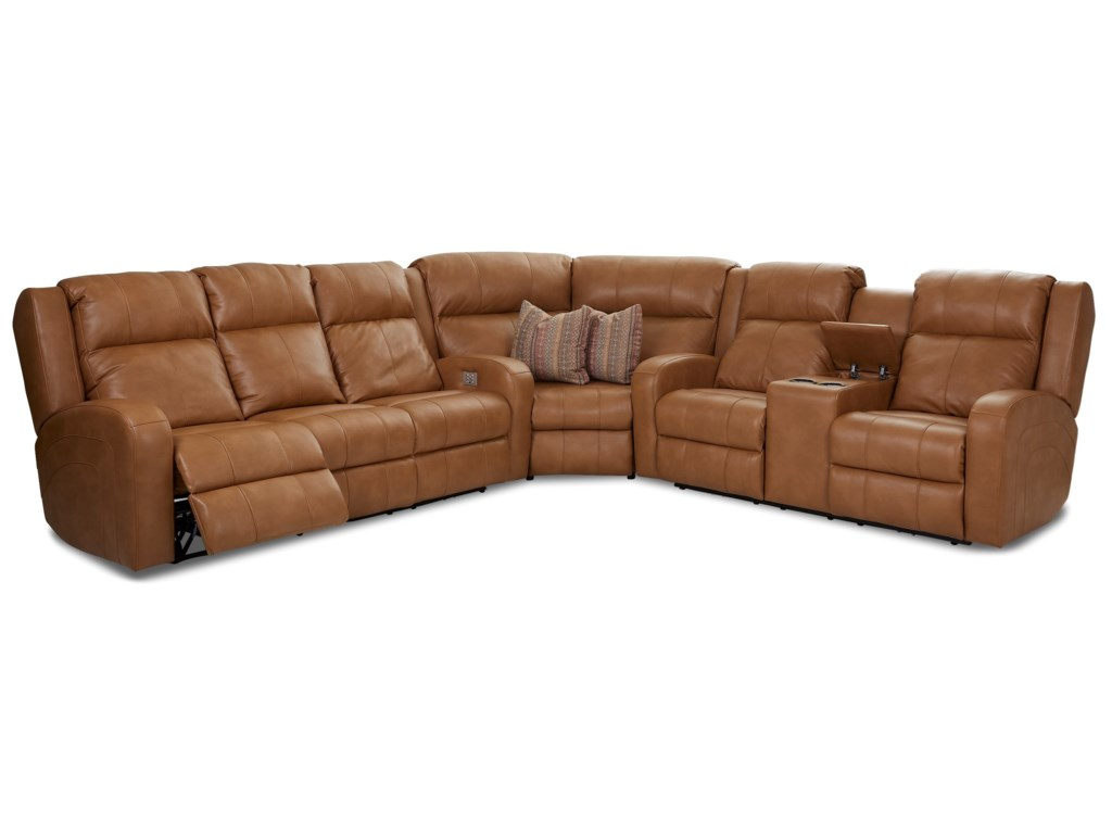 Klaussner Robinson3 Pc Reclining Sectional Sofa w/ Pillows