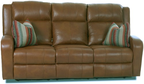 Klaussner Robinson Power Reclining Leather Sofa with Power Adjustable Head & Lumbar and Pillows