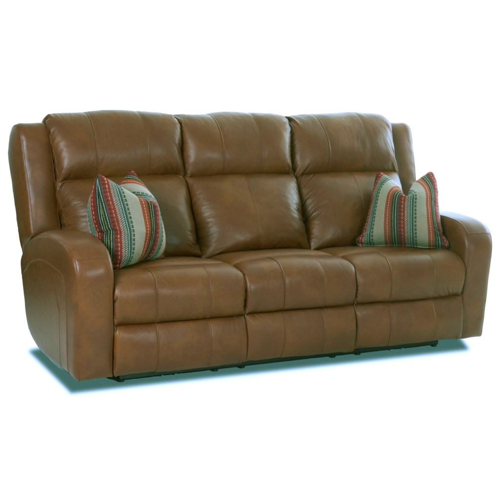 Klaussner Robinson Lv64903 8p Pwrs Power Reclining Leather Sofa With