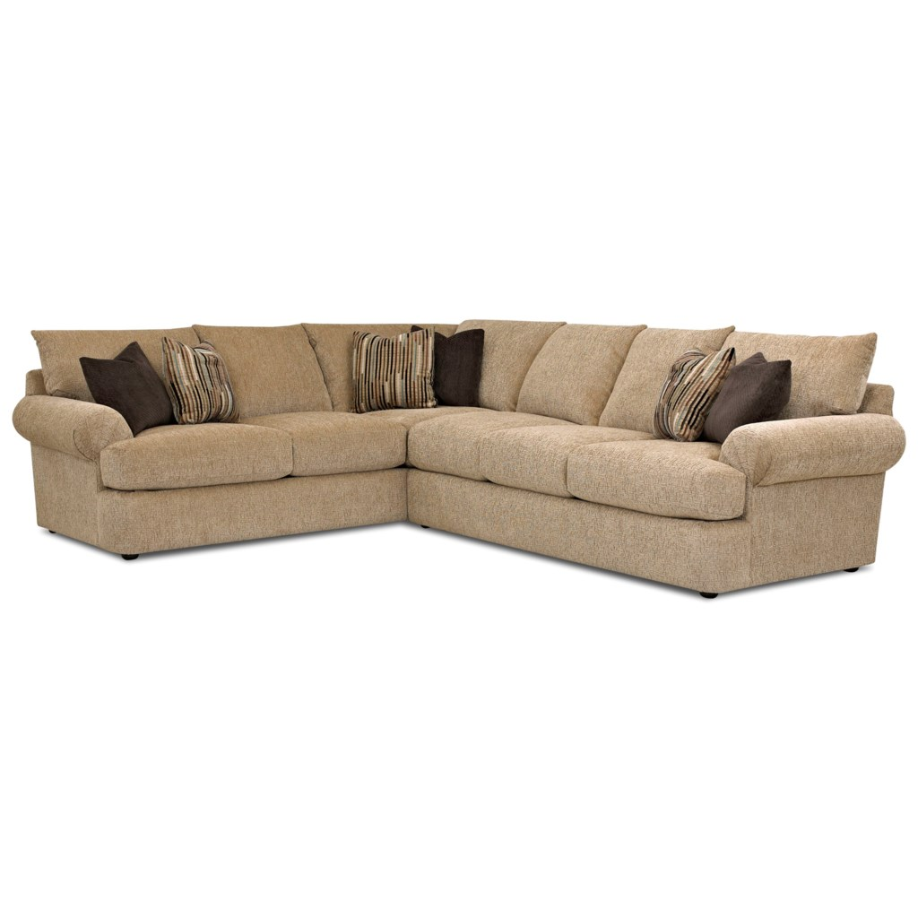 Klaussner Samantha Casual Two Piece Sectional Sofa With Laf Corner