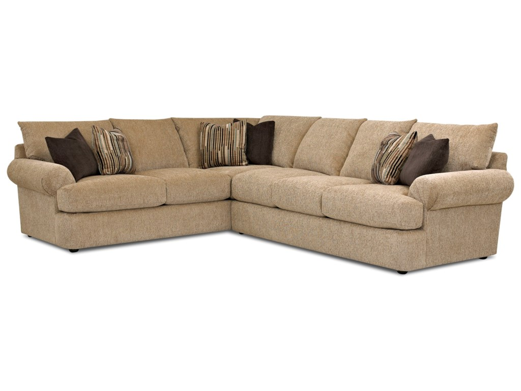 Samantha Casual Two Piece Sectional Sofa With Laf Corner By Klaussner At Dream Home Interiors