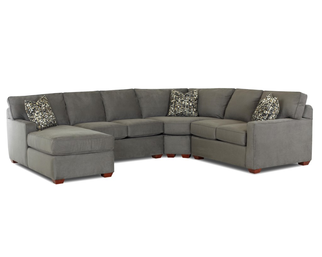 Klaussner Selection Contemporary L Shaped Sectional Sofa With Left  ~ Sectional Sofa With Wedge