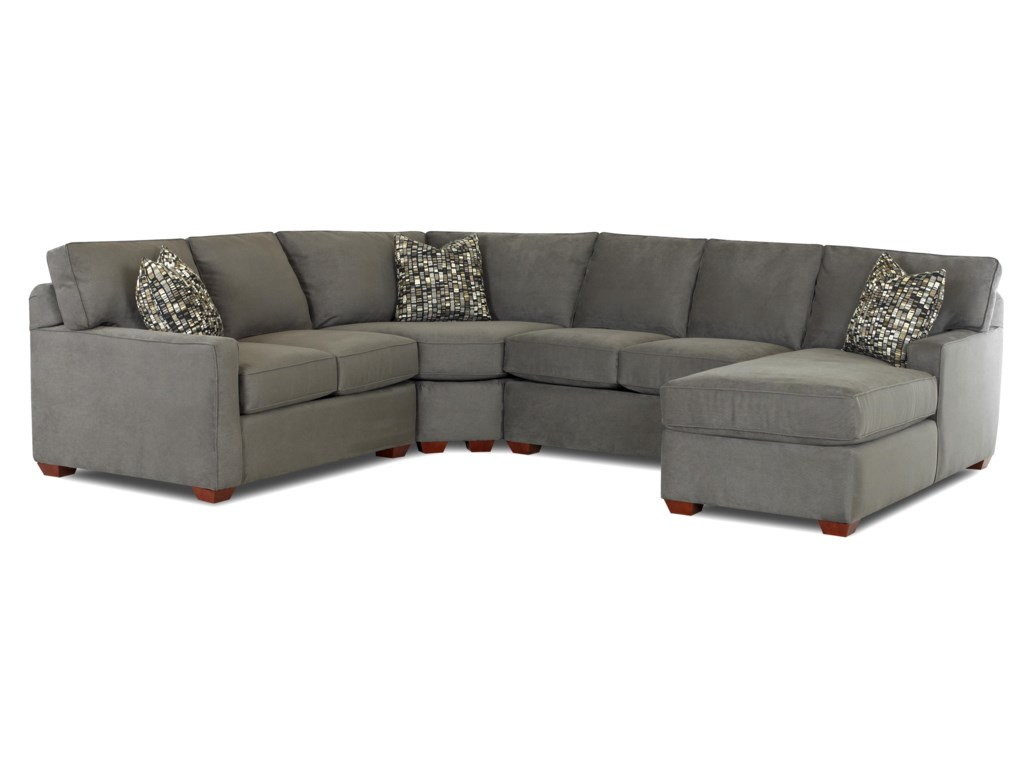 Selection Contemporary L Shaped Sectional Sofa With Right Arm Facing Chaise By Klaussner