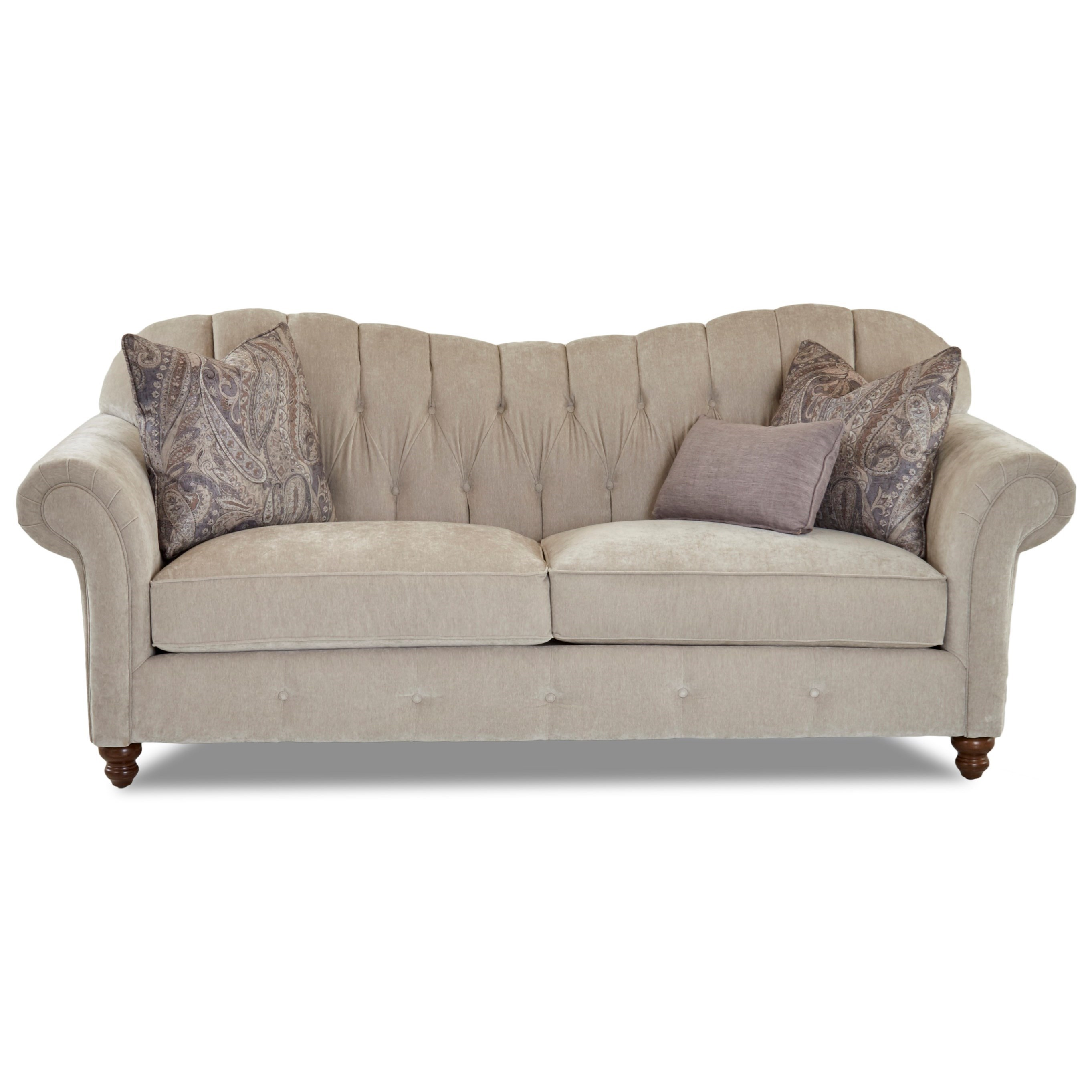 Klaussner Shelby Traditional Sweetheart Back Sofa With Button Tufting