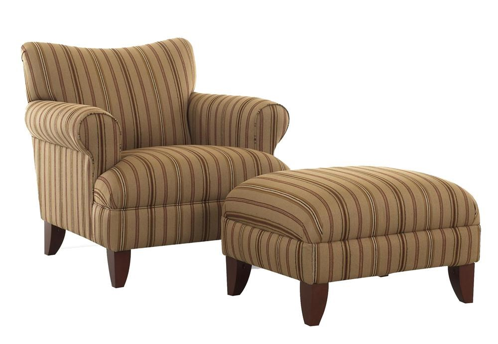 Klaussner Simone Upholstered Chair With Rolled Arms And Ottoman With Wood  Legs