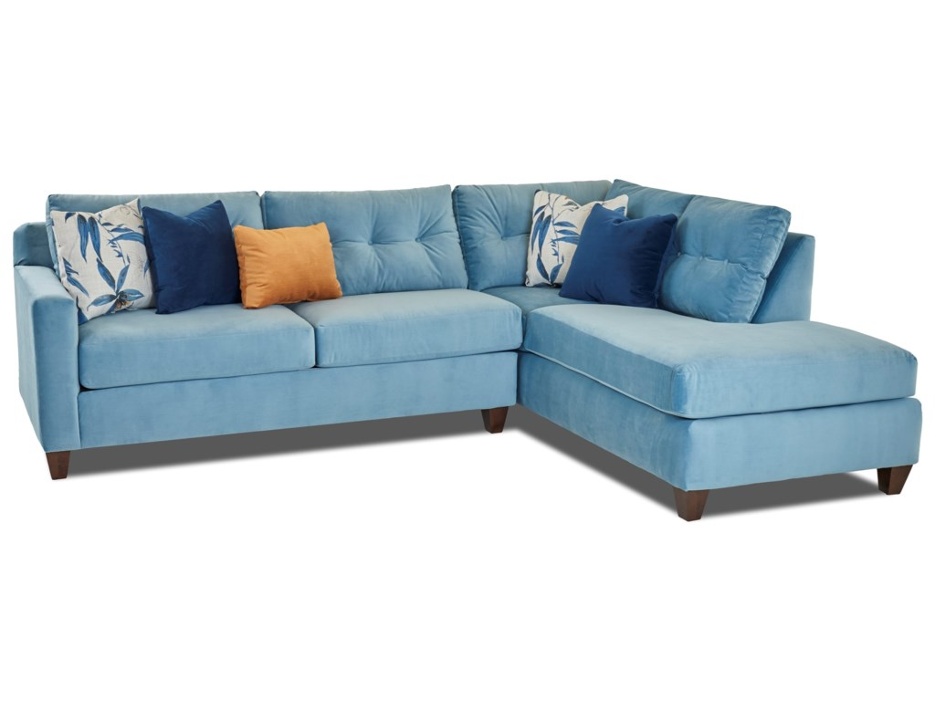 Klaussner Sloane Contemporary Sectional Sofa with Chaise | Hudson\'s ...