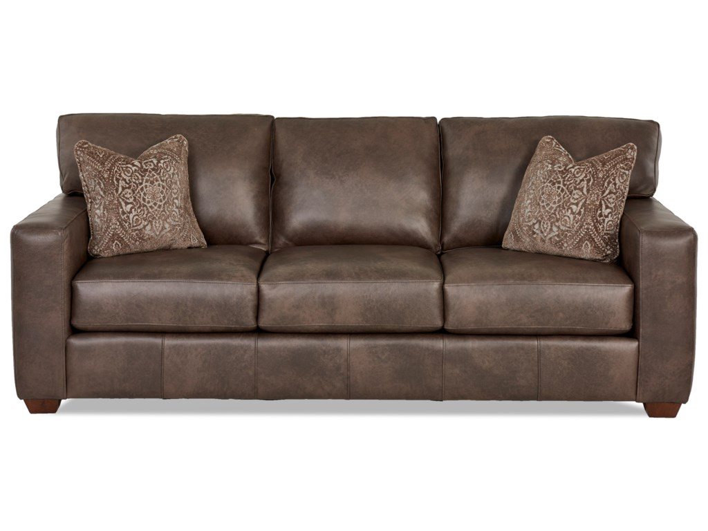 Southport Contemporary Leather Sofa with Pillows by Klaussner at Northeast  Factory Direct