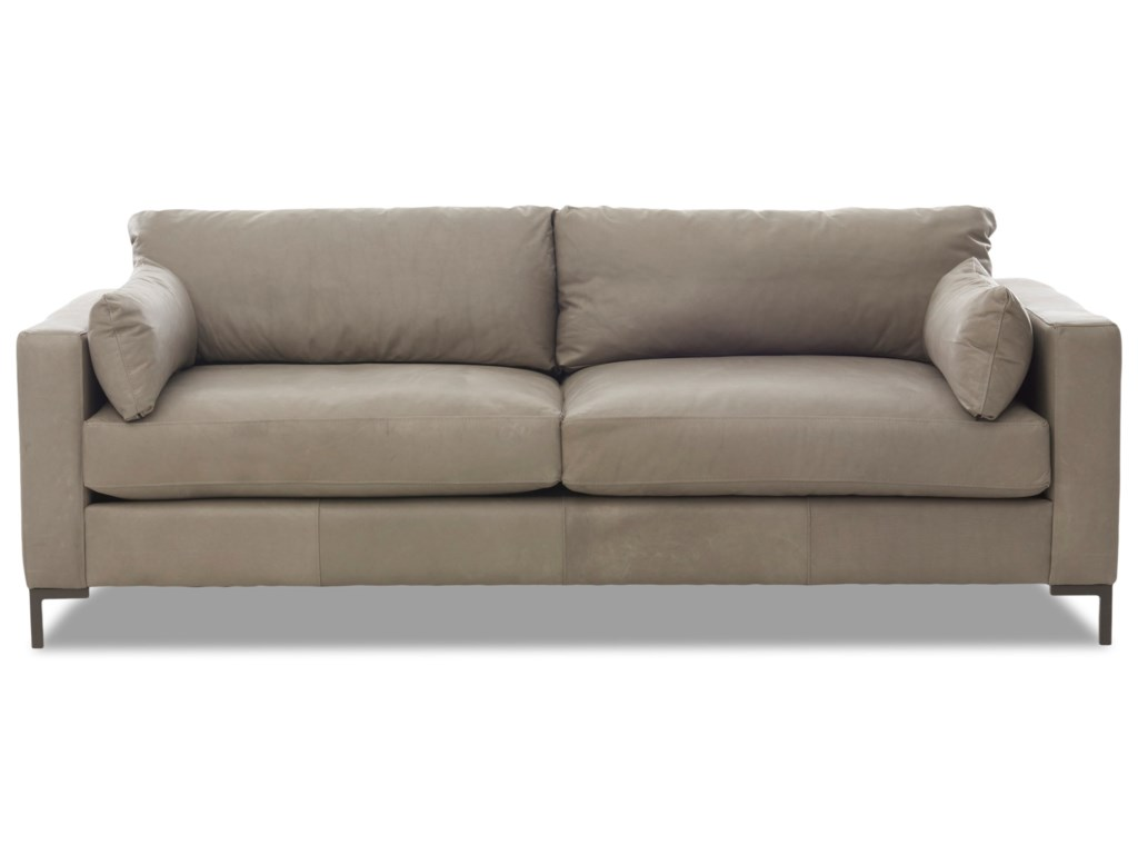 Spencer Contemporary Sofa with Track Arms and Metal Legs by Klaussner at  Wayside Furniture