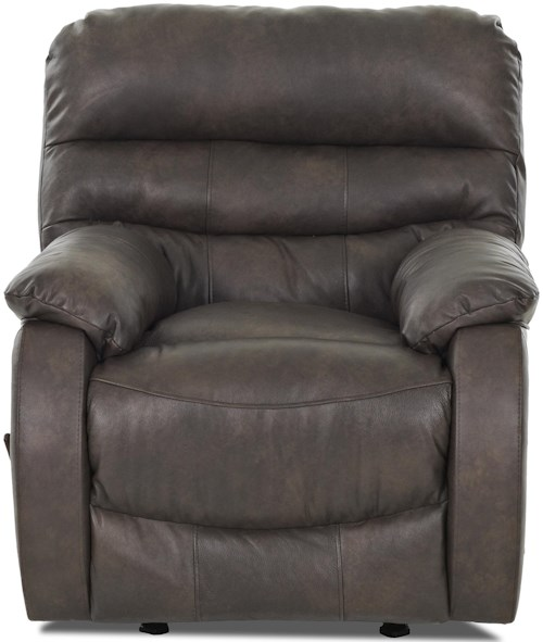 Klaussner Stillwater Casual Swivel Gliding Reclining Chair with Plush Pillow Arms and Padded Chaise