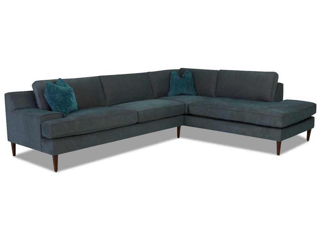 Klaussner Talon3-Seat Chaise Sectional w/ RAF Sofa Chaise