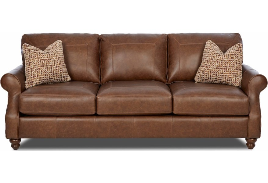 Klaussner Tifton Traditional Extra Large Leather Sofa with ...