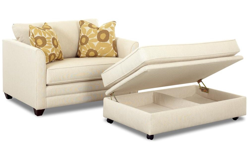 Twin Sleeper with Storage Ottoman Open