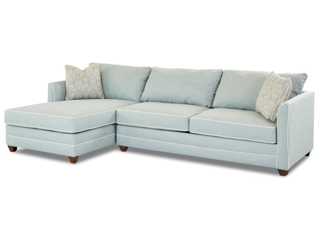Klaussner Tilly Two Piece Sectional Sofa With Raf Sleeper Sofa And