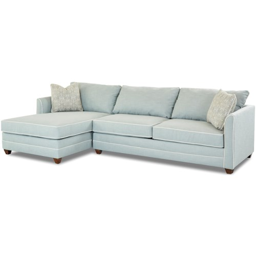 Klaussner Tilly Two Piece Sectional Sofa With Raf Sleeper And Enso Memory Foam Mattress