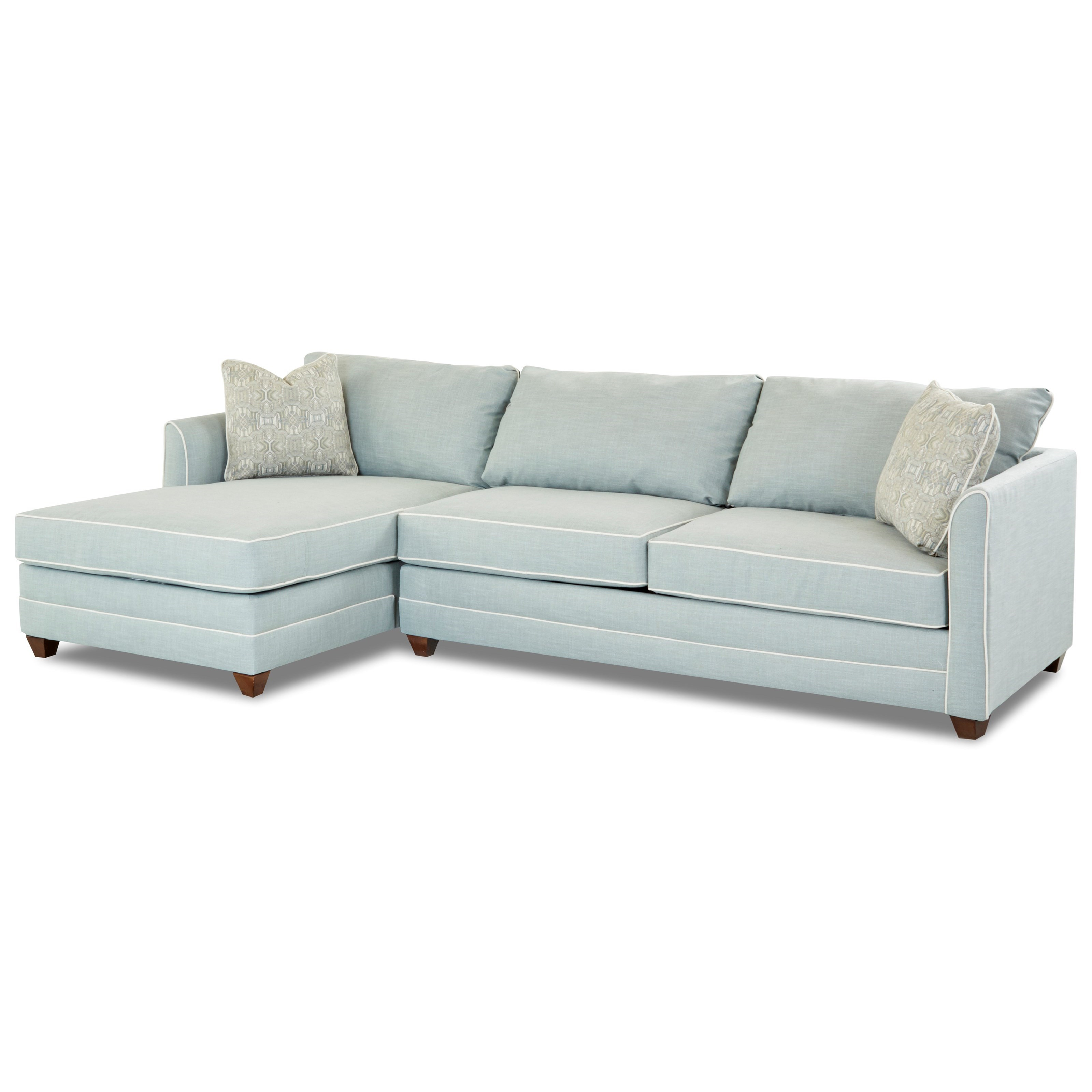 Klaussner Tilly Two Piece Sectional Sofa With RAF Sleeper Sofa And Enso  Memory Foam Mattress