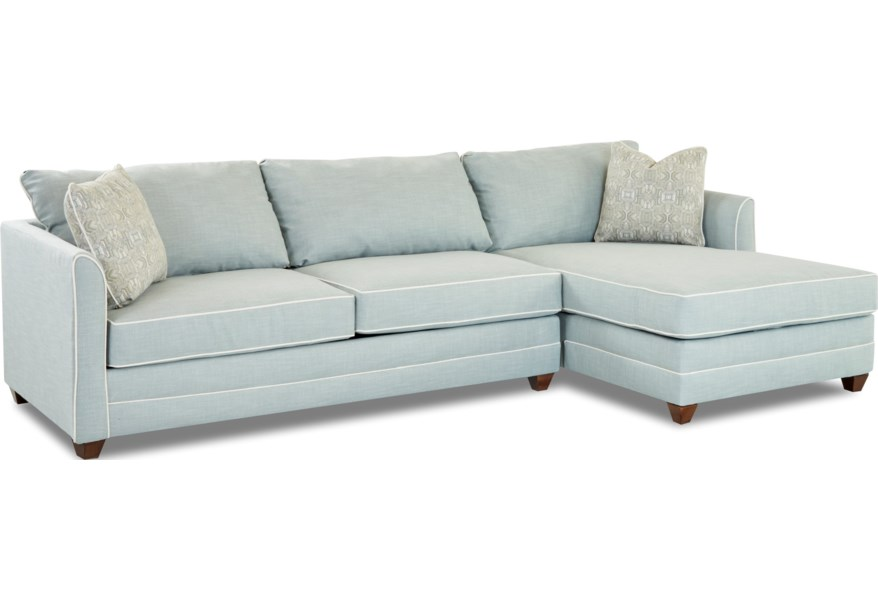 Tilly Two Piece Sectional Sofa with LAF Sleeper Sofa and Enso Memory Foam  Mattress by Klaussner at Northeast Factory Direct