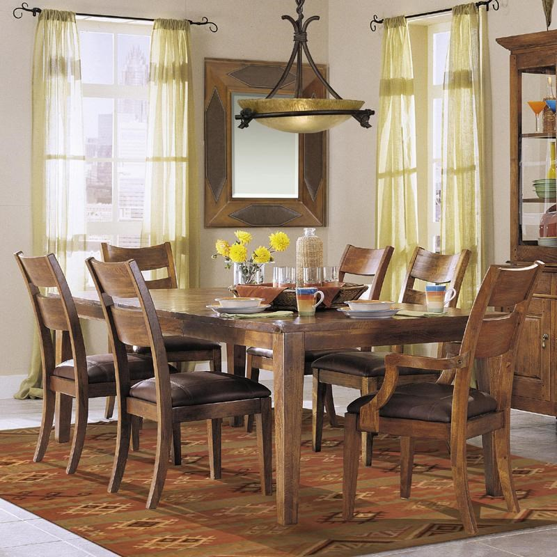 Klaussner International Urban Craftsmen 7 Piece Dining Table Set With 2 Arm  Chairs And 4