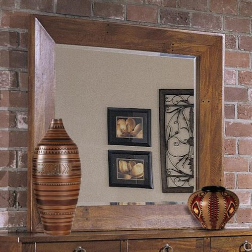 Klaussner International Urban Craftsmen Mirror with Beveled Edge and Rustic Wood Frame