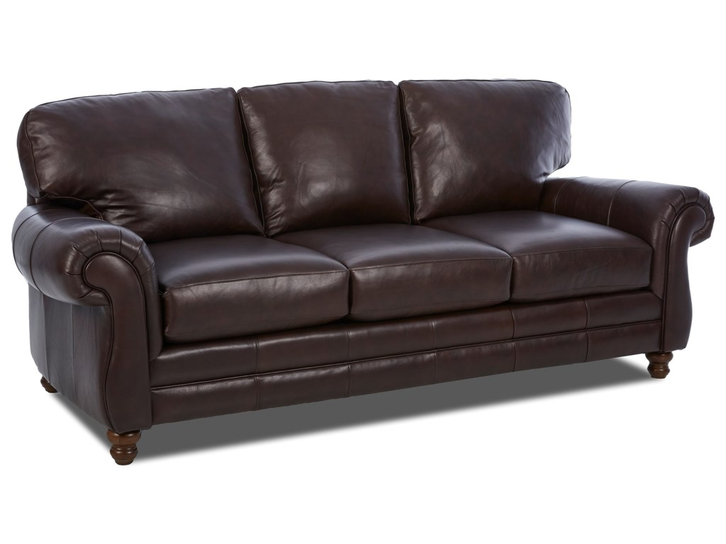 Simple Elegance ChelseaLeather Roll Arm Sofa