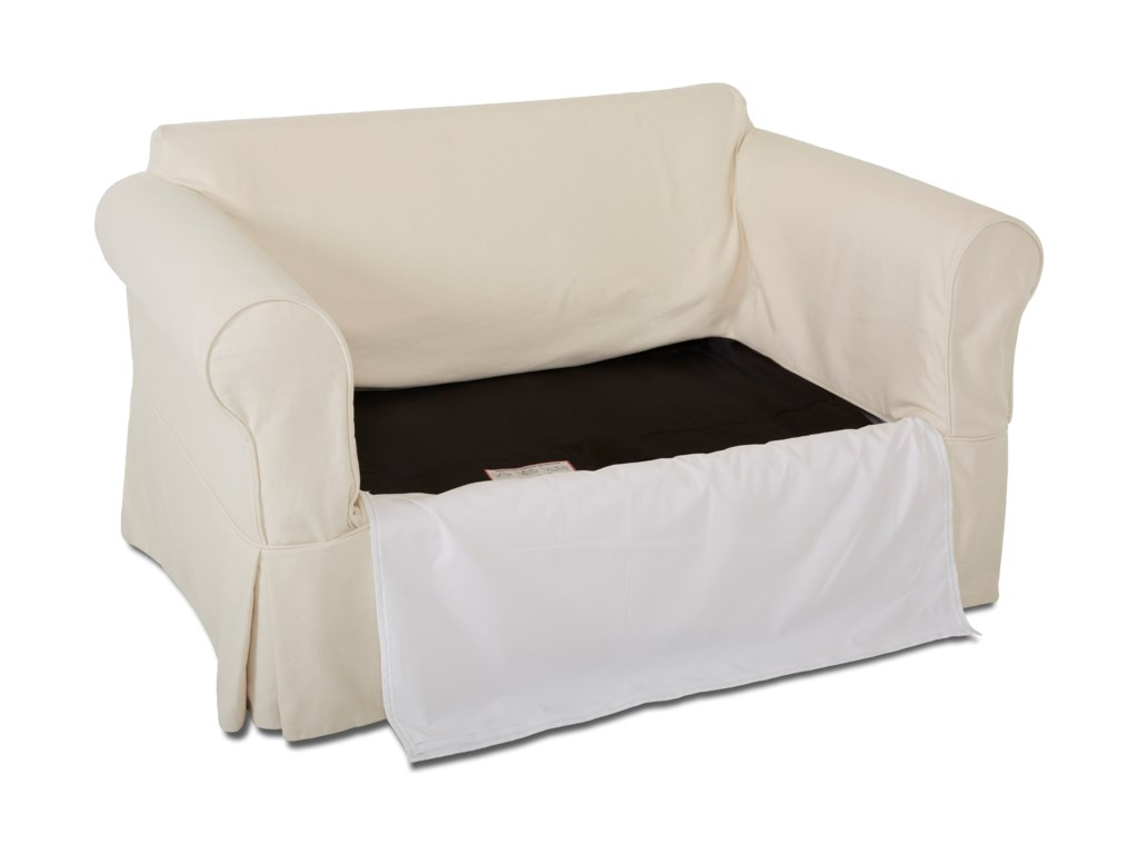 Zippered panels help the slipcover retain a structured, tailored look