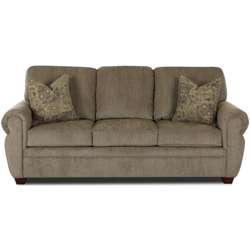 Klaussner Westbrook Rolled Arm Sleeper Sofa With Enso Memoryfoam Mattress