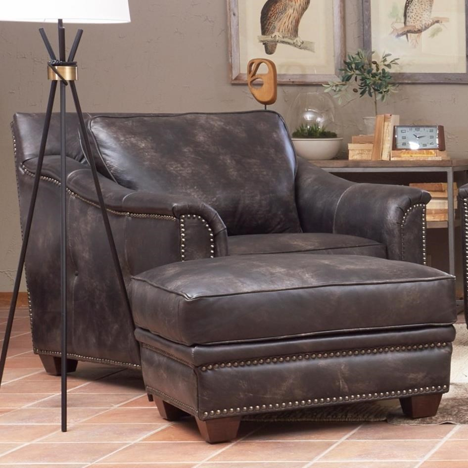 Bon Elliston Place WilkesboroLeather Chair And Ottoman Set ...