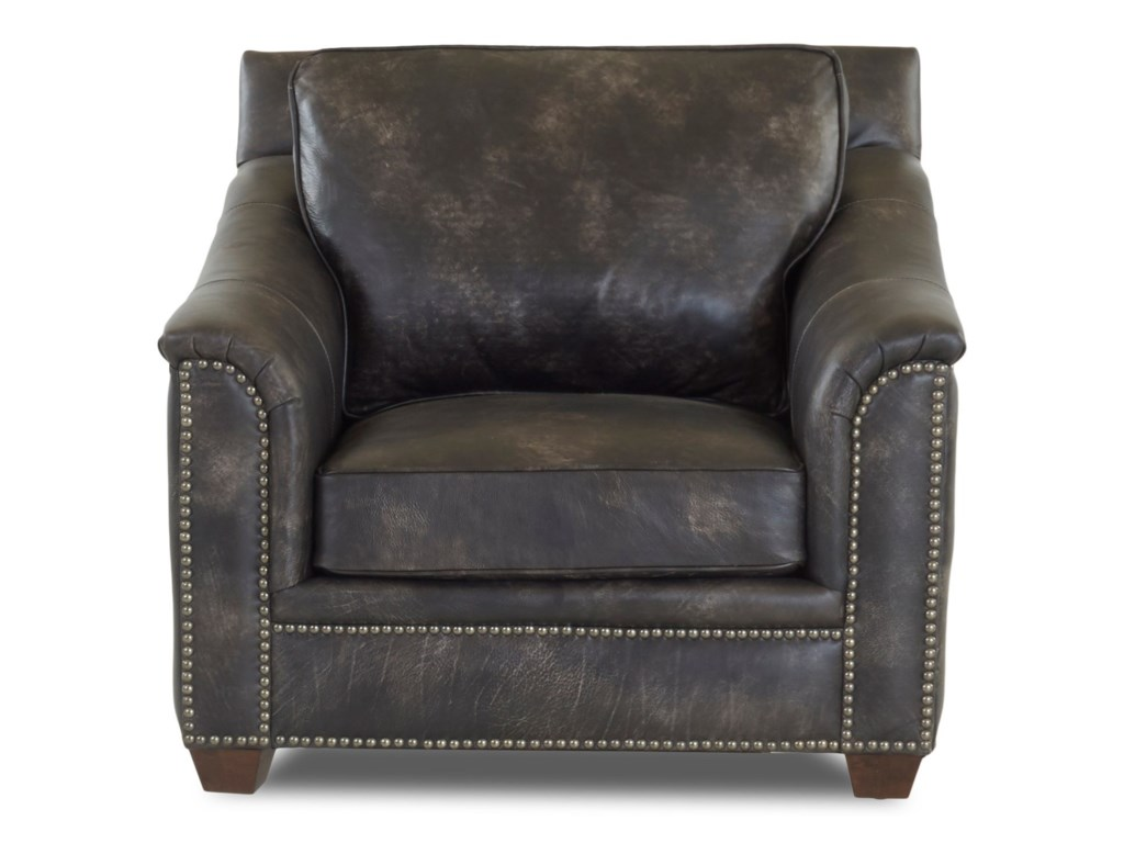 Klaussner WilkesboroLeather Chair and Ottoman Set