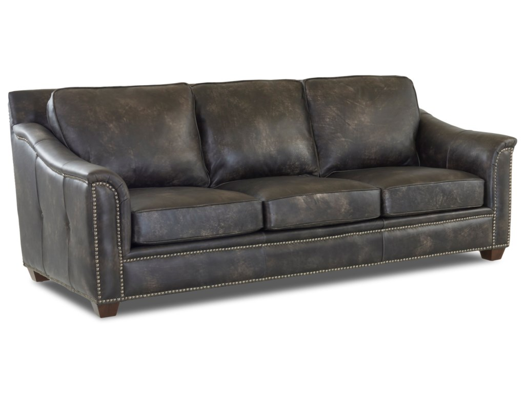 Klaussner Wilkesboro Leather Sofa With Nailhead Studs And Outside Tufting Novello Home Furnishings Sofas