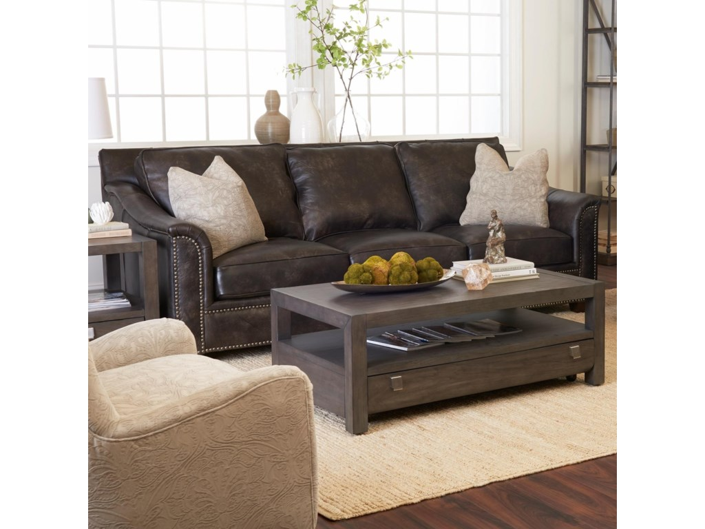 Klaussner Wilkesboro Leather Sofa With Nailhead Studs And Pillows