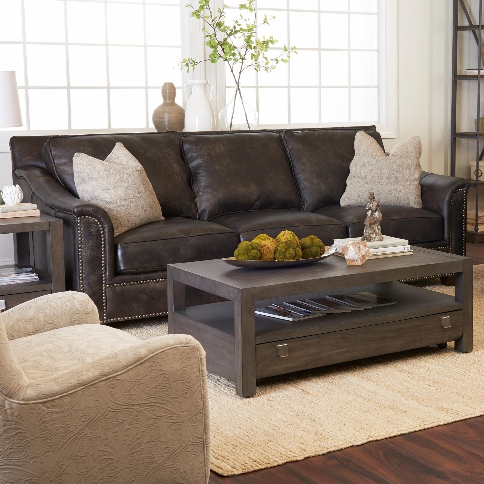 Elliston Place WilkesboroLeather Sofa W/ Pillows ...